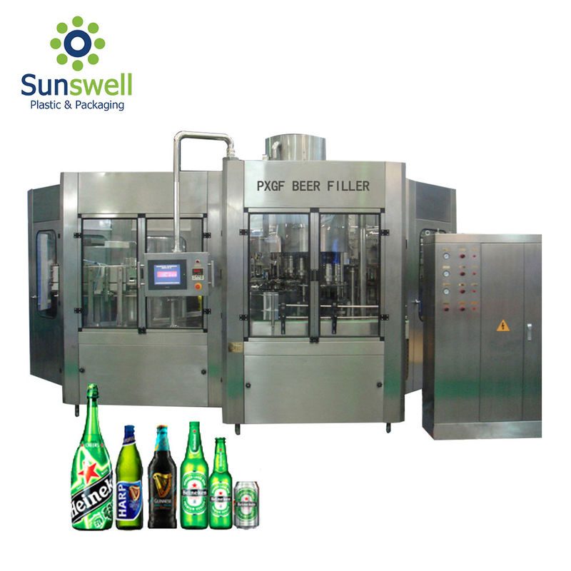 Rotary Type Beer Can Filling Machine , Bottle Filling And Capping Machine