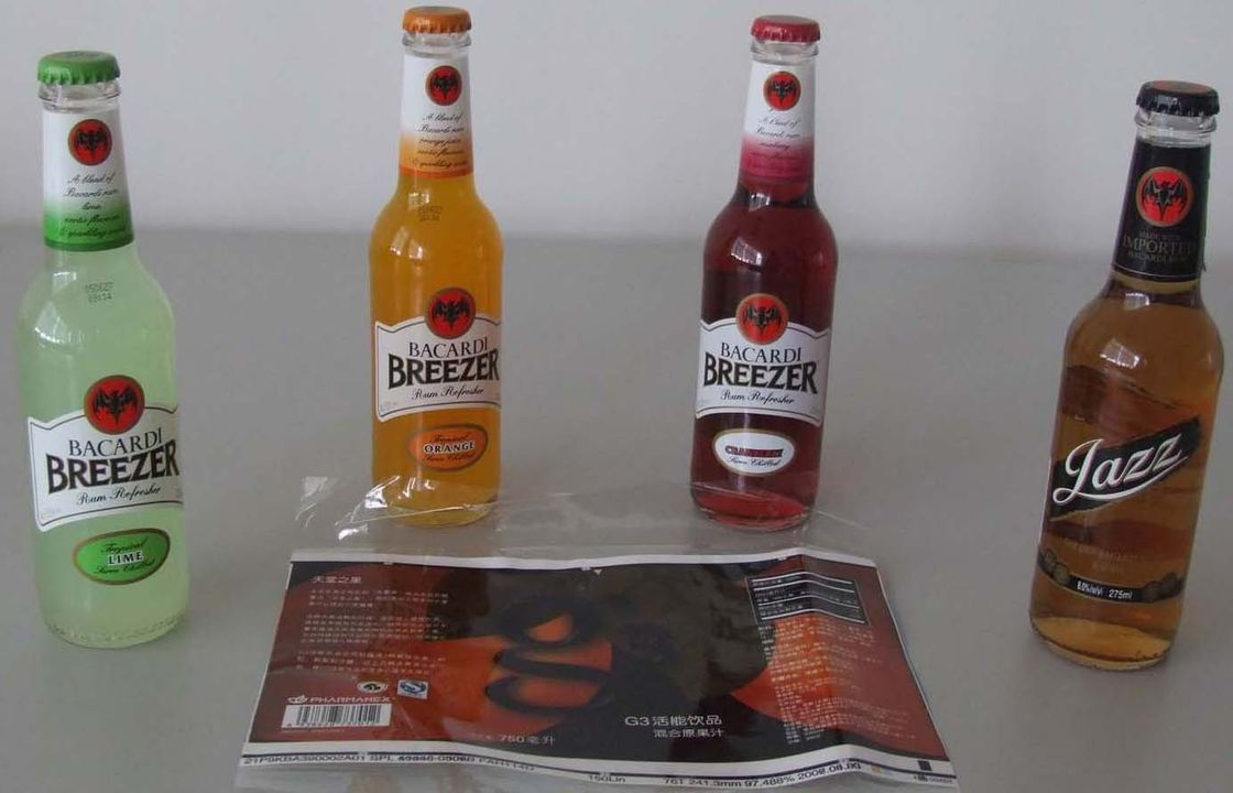 PP / PE / OPS Waterproof Self adhesive Label for Bottled Beverage आपूर्तिकर्ता